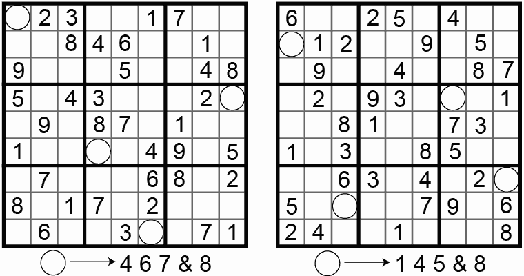 Figure 1. The first Number Place puzzles. (Dell Pencil Puzzles & Word Games #16, page 6, 1979-05)