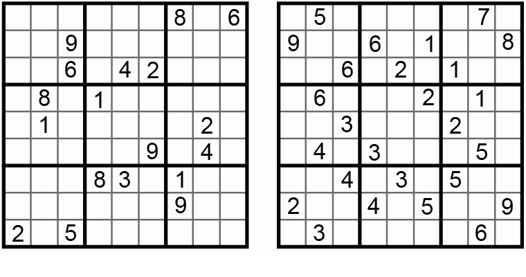 Figure 2. Two normal Sudoku/Number Place/Nanpure puzzles. (Reader submissions to Nanpure Fan, 2004-10)