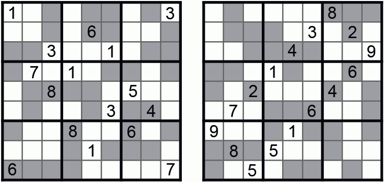 Figure 4. Even-Odd Number Place (Guusuu Kisuu Nanpure). Nanbaapureesu (Number Place) 2004-09. Gray cells are even, white cells are odd.