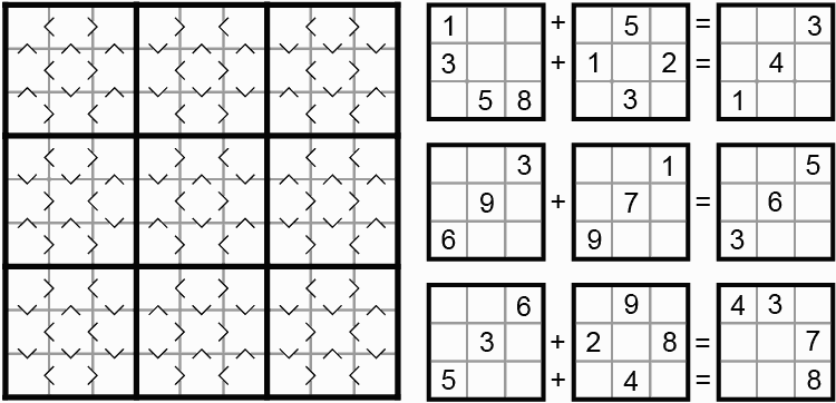Figure 7. Greater Than Sudoku (Puzzler 1999-11) and Sums Sudoku by Ed Pegg Jr.